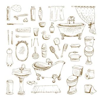 Hand gezeichnete badezimmerinnenelemente