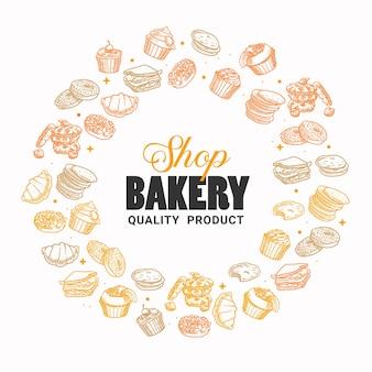 Hand gezeichnete bäckerei, gebäck, frühstück, brot, süßigkeiten, dessert, illustration