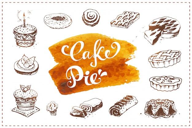 Hand gezeichnete bäckereiikonen eingestellt. essensskizzen