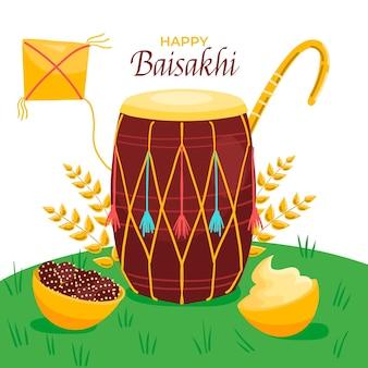 Hand gezeichnete baisakhi illustration