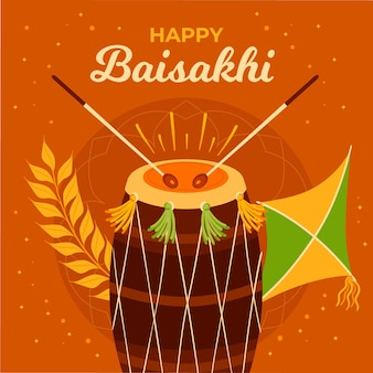 Hand gezeichnete baisakhi illustration
