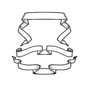 Hand gezeichnete bandfahnen