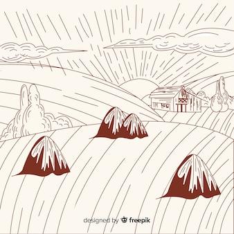 Hand gezeichnete bauernhoflandschaft