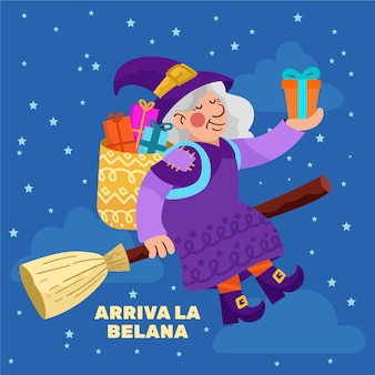 Hand gezeichnete befana illustration