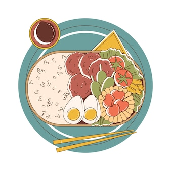 Hand gezeichnete bento-box-illustration