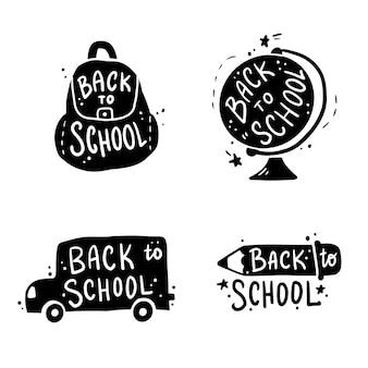 Hand gezeichnete beschriftung back to school zitiert illustration.