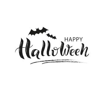 Hand gezeichnete beschriftung der glücklichen halloween-hand.