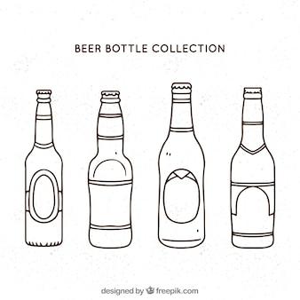 Hand gezeichnete bierflaschensammlung
