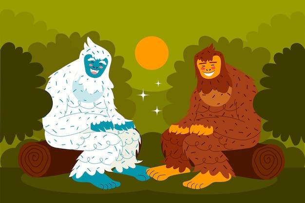 Hand gezeichnete bigfoot sasquatch und yeti abscheuliche schneemann illustration