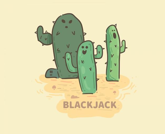 Hand gezeichnete blackjackkakteen