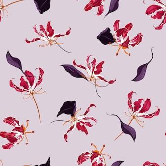Hand gezeichnete blühende flamme lilie blumengarten botanische blume nahtlosen muster vektor hintergrund