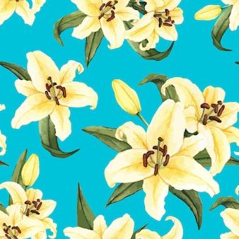 Hand gezeichnete Blume der weißen Lilie getrennt