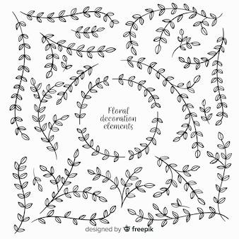Hand gezeichnete blumendekorationselemente