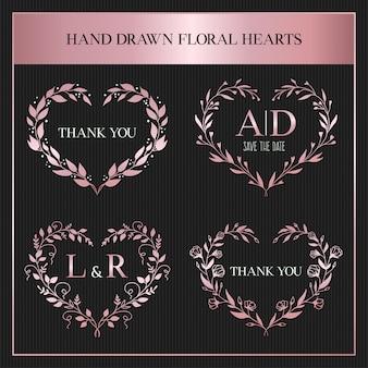 Hand gezeichnete blumenherzen