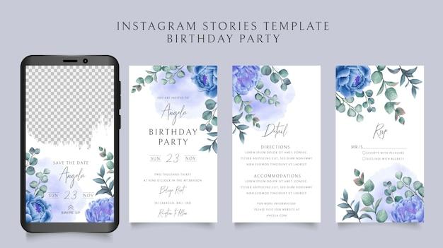 Hand gezeichnete blumenhochzeitseinladungskarte instagram geschichten sammlung