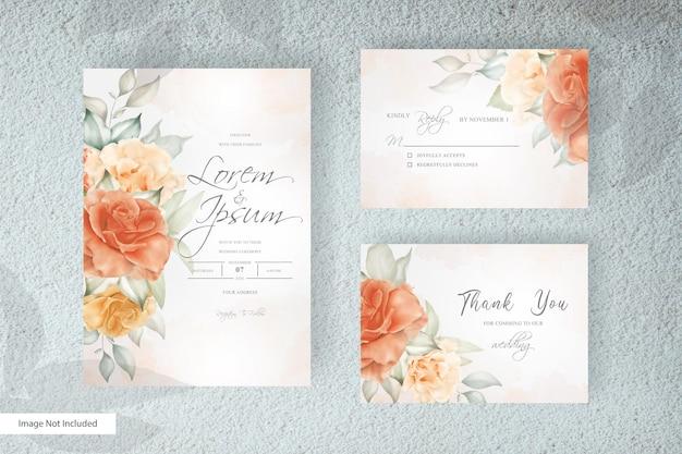 Hand gezeichnete blumenhochzeitseinladungskartenschablone im minimalistischen stil