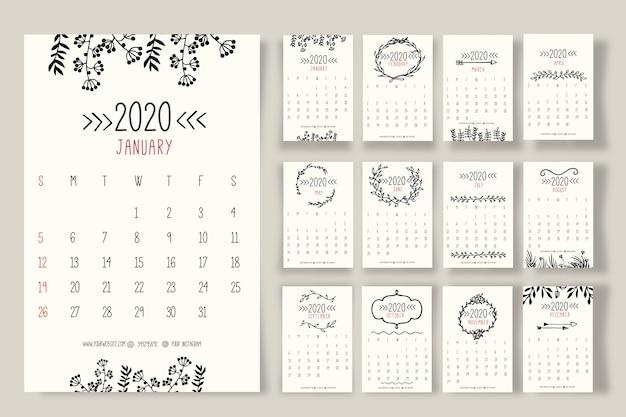 Hand gezeichnete blumenkalender 2020 vorlage
