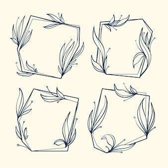 Hand gezeichnete blumenrahmenkollektion