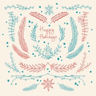 Hand gezeichnete blumenschablone der winterferien mit natürlichen baumzweigen in der roten und blauen farbillustration