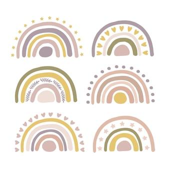 Hand gezeichnete boho kindergarten regenbogen vektor-illustration gesetzt