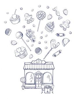 Hand gezeichnete bonbons, die aus konditoreigebäude heraus verbreiten