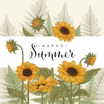 Hand gezeichnete botanische illustrationen der sonnenblumen-einladungskartenschablone. Premium Vektoren