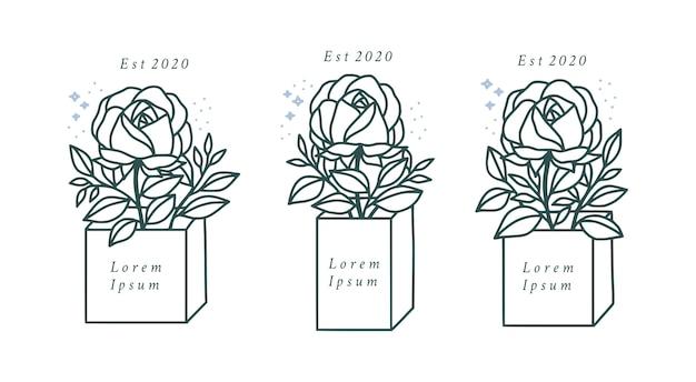 Hand gezeichnete botanische rosenblume für weibliche schönheitslogoelemente