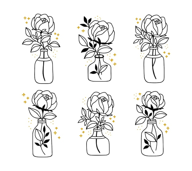 Hand gezeichnete botanische rosenblumenblattzweig-vasenflasche und glaslinienkunstelementsammlung