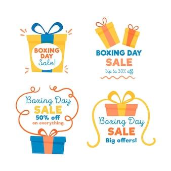Hand gezeichnete boxing day sale abzeichen sammlung