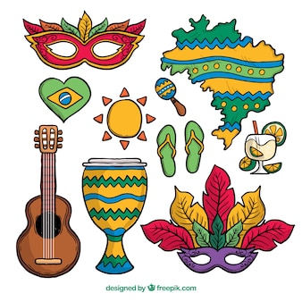 Hand gezeichnete brasilianische karnevalselementsammlung