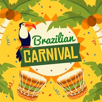 Hand gezeichnete brasilianische karnevalsillustrationen