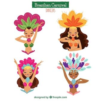 Hand gezeichnete brasilianische karnevalstänzeransammlung