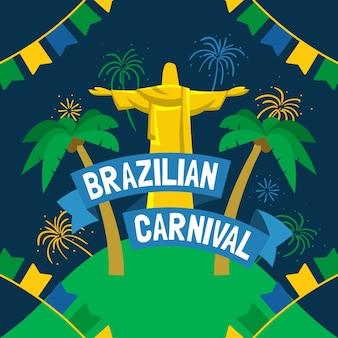 Hand gezeichnete brasilianische karnevalstapete