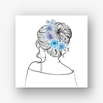 Hand gezeichnete braut mit schöner frisurblumen-aquarellillustrationhand gezeichnete braut mit schöner frisurblumenblau-aquarellillustration