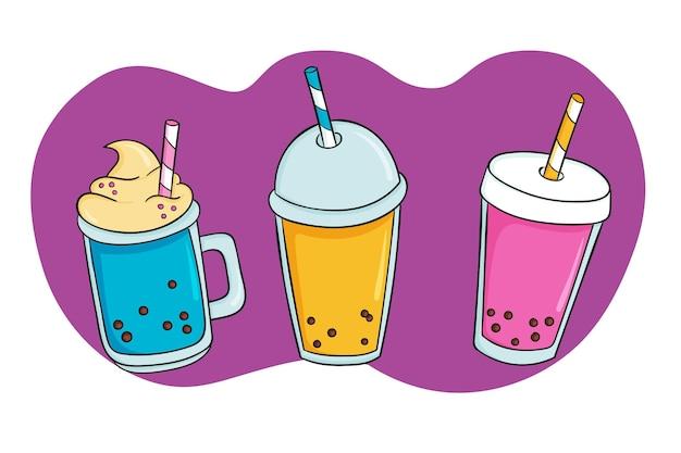 Hand gezeichnete bubble tea aromen