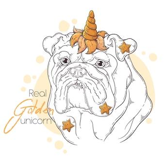 Hand gezeichnete bulldogge mit einhornhorn