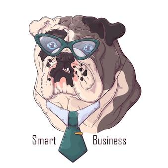 Hand gezeichnete bulldogge mit krawatte