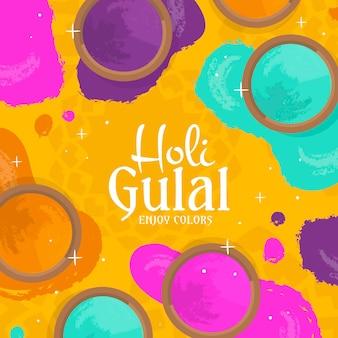 Hand gezeichnete bunte holi gulal