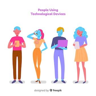 Hand gezeichnete bunte junge leute, die satz des technologischen geräts verwenden