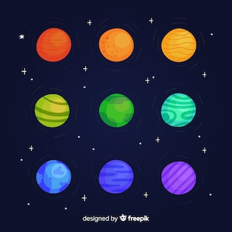 Hand gezeichnete bunte planetensammlung