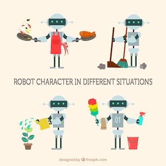 Hand gezeichnete bunte robotersammlung