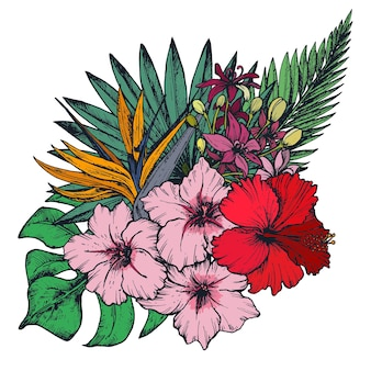 Hand gezeichnete bunte tropische blumen, palmblätter, dschungelpflanzen, paradiesstrauß.