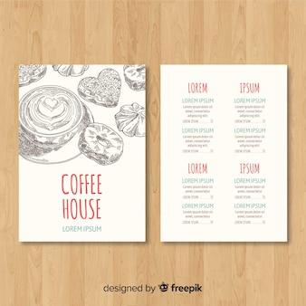 Hand gezeichnete cafémenüschablone