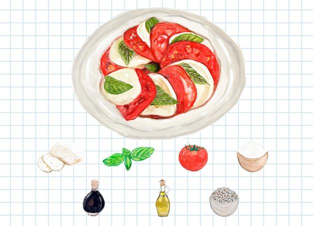 Hand gezeichnete caprese-salat-aquarellart