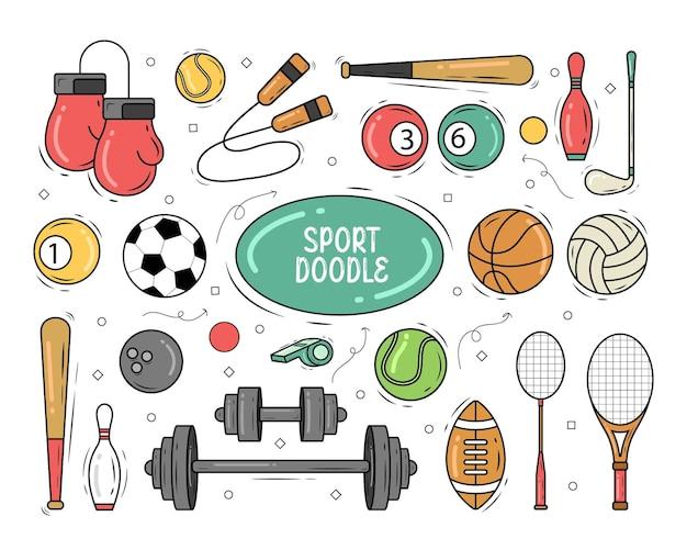 Hand gezeichnete cartoon-sportausrüstung gekritzelentwurf