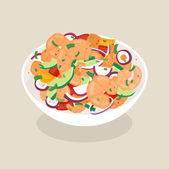 Hand gezeichnete ceviche-illustration