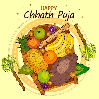Hand gezeichnete chhath puja