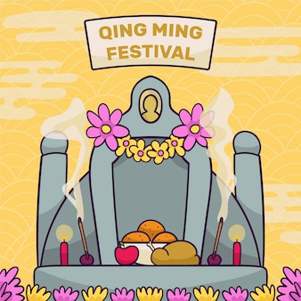 Hand gezeichnete ching ming festival feier illustration