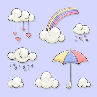 Hand gezeichnete chuva de amor dekorationselement sammlung