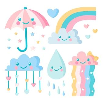 Hand gezeichnete chuva de amor dekorationselementpackung
